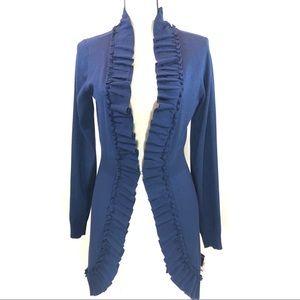 Blue Ruffled Cardigan Sweater Women's S